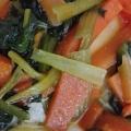 小松菜と人参とわかめの味噌汁