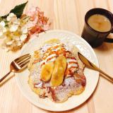ふわとろしゅわ〜なやわらかパンケーキ&練乳ホイップ