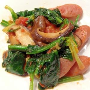 ほうれん草とウインナーと椎茸のトマト炒め
