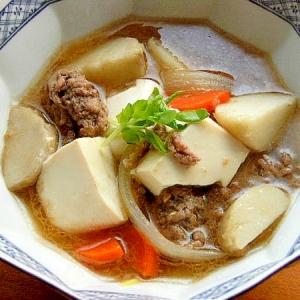 豚汁の要領で❤里芋と合挽き肉の「おかず」な汁物♪
