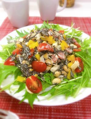 食物繊維たっぷり♡ひじきと蒸し大豆のマヨ醤サラダ