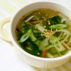 切り昆布とねぎのスープ