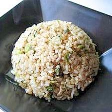 野沢菜と雑魚の玄米チャーハン