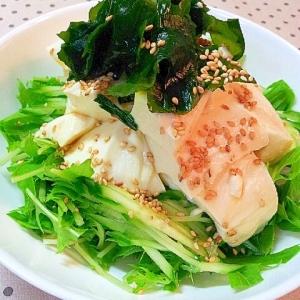 ✿豆腐と水菜とわかめのゴマたっぷり和風サラダ❤