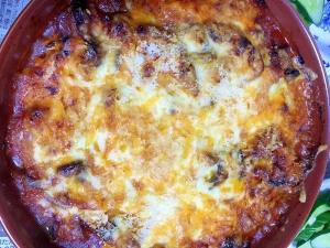 胸肉と茄子のトマトチーズ焼き