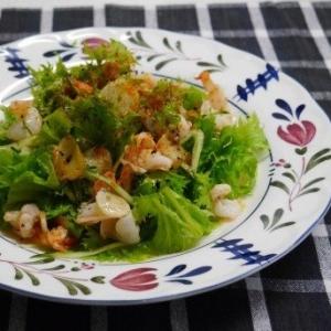 炒めオイルをドレッシングに‼わさび菜と海老のサラダ