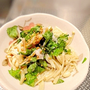 小さな野菜のおかず☆エノキと大葉の塩麹和え