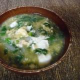 モロヘイヤと卵の味噌汁