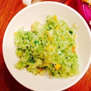 離乳食☆小松菜とミックスベジタブルの和風チャーハン