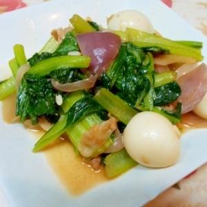 うずらの卵と紫玉ねぎで、ちょっと豪華な炒め物♪