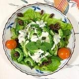 ゴーヤ、パープルアスパラ、サンチュのサラダ