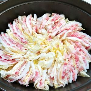 麺つゆで豚バラと白菜のミルフィーユ鍋
