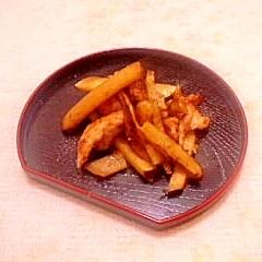 さつまいもと鶏ささみのさっぱり炒め物