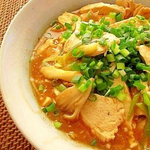 豆腐と鷄むね肉ときのこのピリ辛とろみ炒め
