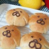 アーモンドの粉と黒糖生地・ライオンの顔パン☆