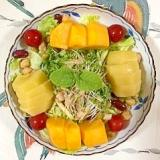 ミックスビーンズ、柿、キウイ、レタス のサラダ