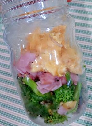 メイソンジャー 菜花とハムと炒り卵の春色おかず