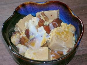 だしがきいてる♪きのこと高野豆腐の卵とじ