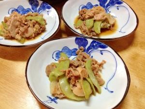 千石豆と豚肉の煮物