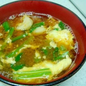 竹輪と小松菜のかきたま汁