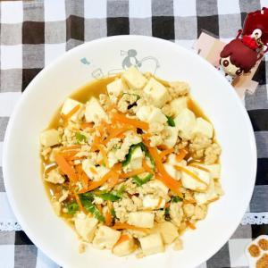 冷凍したカット野菜を使って豆腐とひき肉の炒め煮