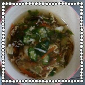 オクラともずくの中華スープ