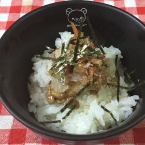 おろし納豆ときんぴら鰹節味付け海苔ご飯