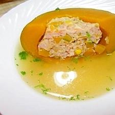圧力鍋で~丸ごとぼっちゃんかぼちゃの詰め物スープ