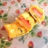 お弁当に♪簡単カニカマと干しエビの卵焼き