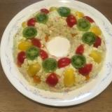 クリスマスリースのカラフルポテトサラダ
