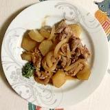 ラム肉、ヤーコン、玉葱の炒め物