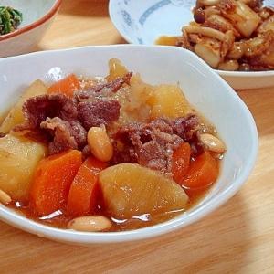 すき焼きのつゆで大豆も摂れる簡単肉じゃが