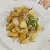 じゃが芋、おかひじき、玉葱の炒め物