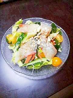 お野菜一杯! 鯛の中華風さしみ