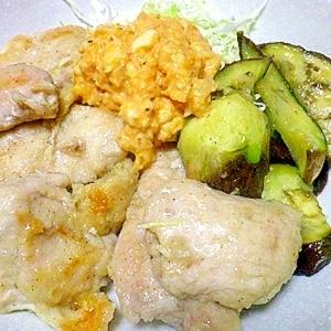 鶏むね肉とお茄子のしっとりシンプル塩蒸し焼き