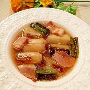下仁田ねぎを焼いてとろとろ♥ベーコンの中華スープ