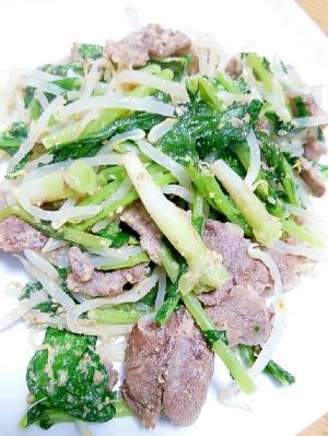 豚ほほ肉と大根葉とモヤシのゴマ炒め