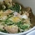 包丁いらず♪鮭缶と水菜のふわとろ卵とじ