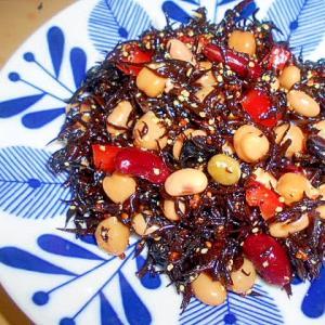 簡単常備菜☆蒸し豆と芽ひじきのマリネ風★