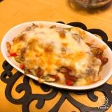 豆腐とさば缶トマトのチーズ焼き