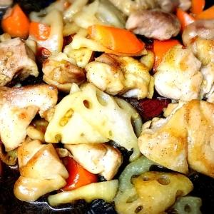 鶏もも肉とレンコンの甘辛炒め