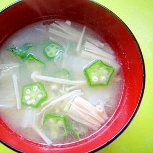 白菜とえのきオクラの味噌汁