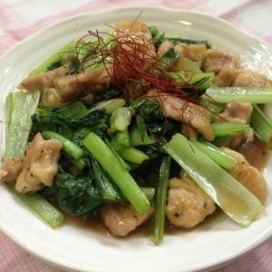 鶏もも肉と小松菜のにんにく炒め