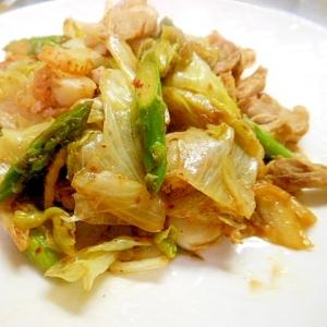 ☆ベビーホタテと野菜の豚肉キムチ炒め☆