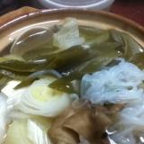 舞茸の蛤の湯豆腐鍋