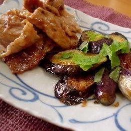 茄子と豚肉の梅照り焼き