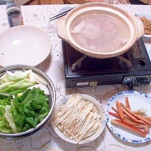 鯛のアラで水炊き野菜鍋