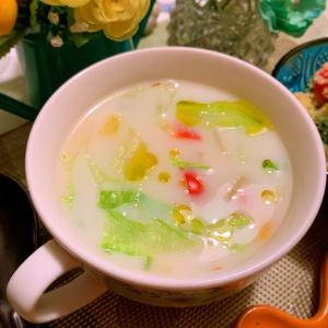 あっという間に出来る♪三色お野菜の豆乳スープ