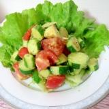 さっぱり簡単♪トマト、アボカド、きゅうりのサラダ