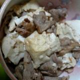 豚こま肉と豆腐のクレイジーソルト炒め
